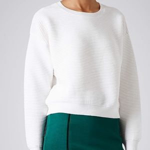 Topshop   White Ribbed Cropped Sweater Size 4